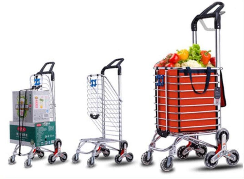 Effortsmy 35L Lightweight Aluminum Alloy Dual Purpose 8 Wheel Shopping Trolley with 360 ° Rotating Handle, Hard Wearing & Foldaway for Easy Storage, Orange