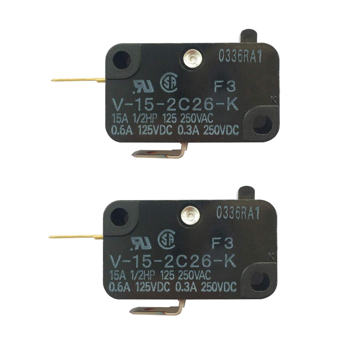 LONYE V-15-2C26-K Switch Snap Action Micro Switch Replacement for OMRON Switch Shurflo 2088 Series Pump 15A 125/250VAC (Normally Closed) (Pack of 2)