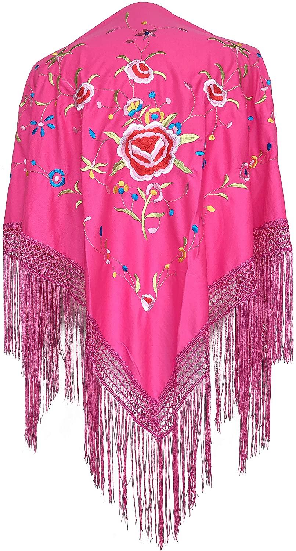 La Senorita Spanish Flamenco Dance Shawl pink various colored flowers