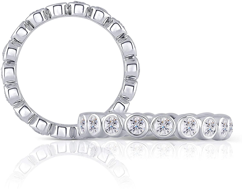 DovEggs Platinum Plated Silver 2.5mm Moissanite Engagement Ring Full Eternity Wedding Band Bezel Setting for Women