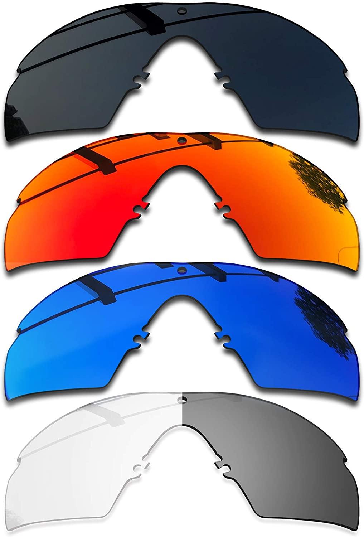SEEABLE 4 Pieces Premium Polarized Mirror Replacement Lenses for Oakley Si M Frame 3.0 OO9146 Sunglasses - Dark Black+Fire Orange Mirror+Blue Mirror+Eclipse Grey Photochromic
