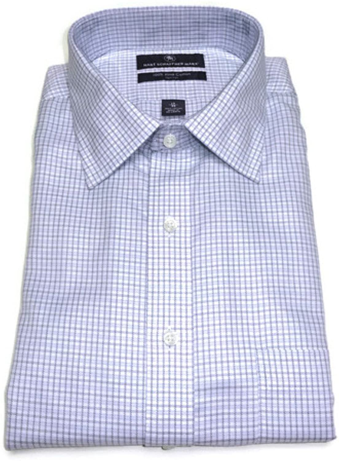 Hart Schaffner Marx Non-Iron Fitted Classic-Fit Spread-Collar Check Dress Shirt, White Multi 17-35