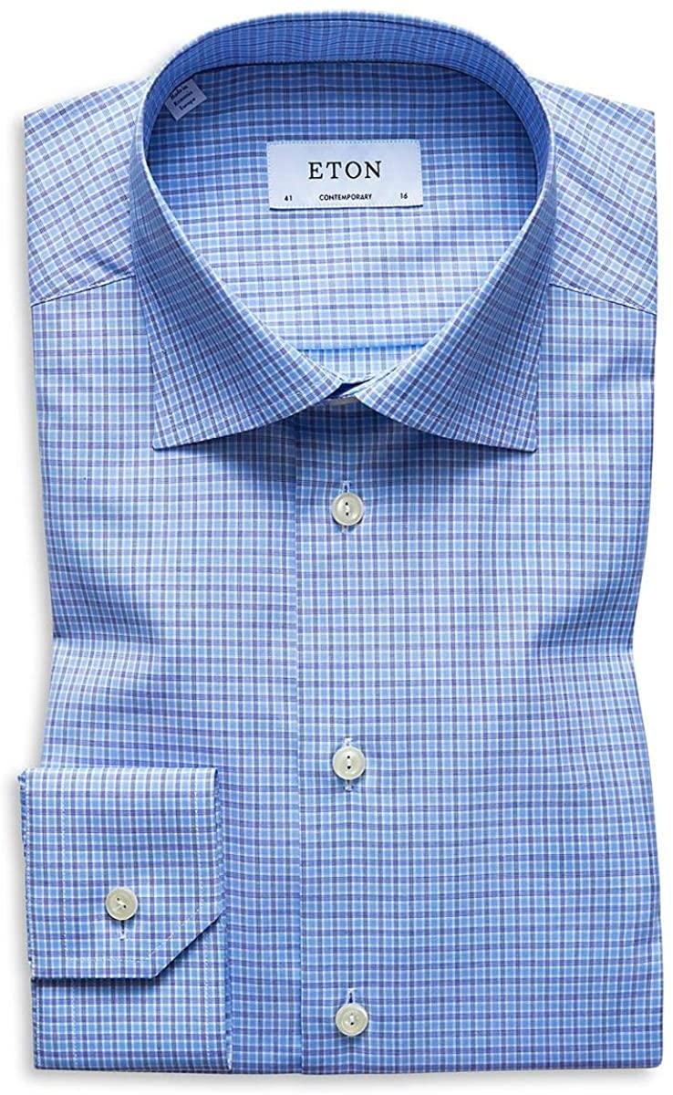 Eton Mens Check Print Collar Dress Shirt
