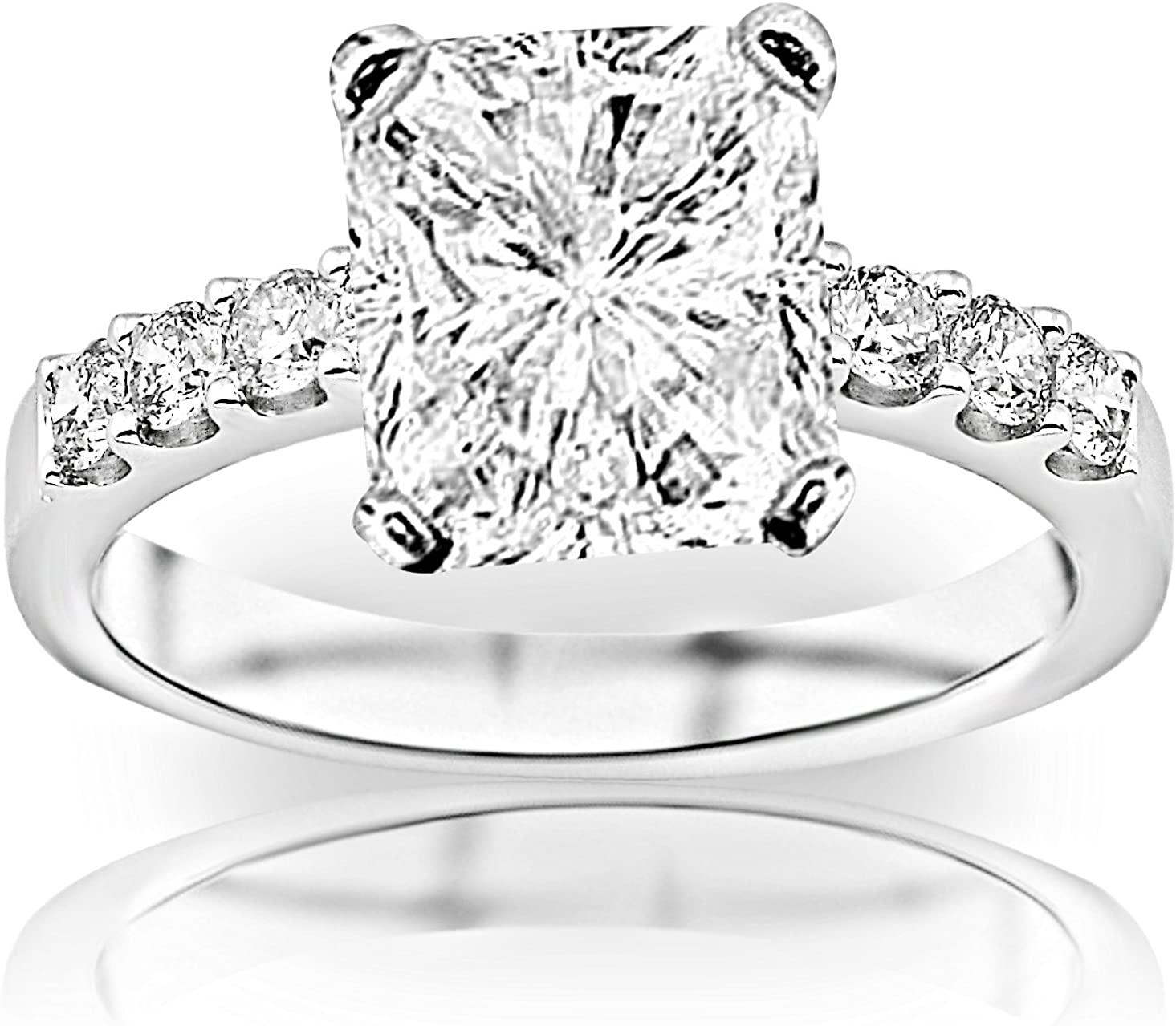 GIA Certified 0.98 Carat Radiant Cut/Shape 14K White Gold Classic Prong Set Diamond Engagement Ring 4 Prong with a 0.50 Carat, D-E Color, VVS1-VVS2 Clarity Center Stone