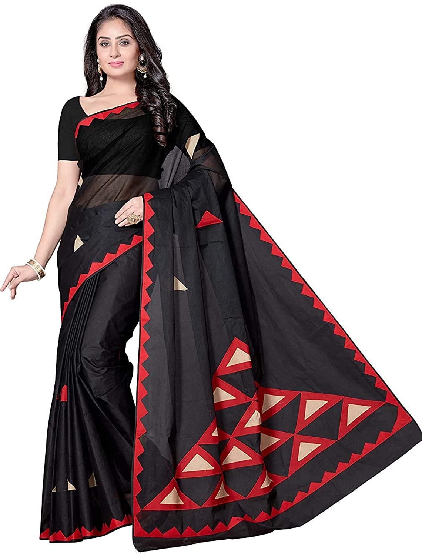 Indian Decor & Attire Womens Cotton Saree with Unstitched Blouse Piece Black