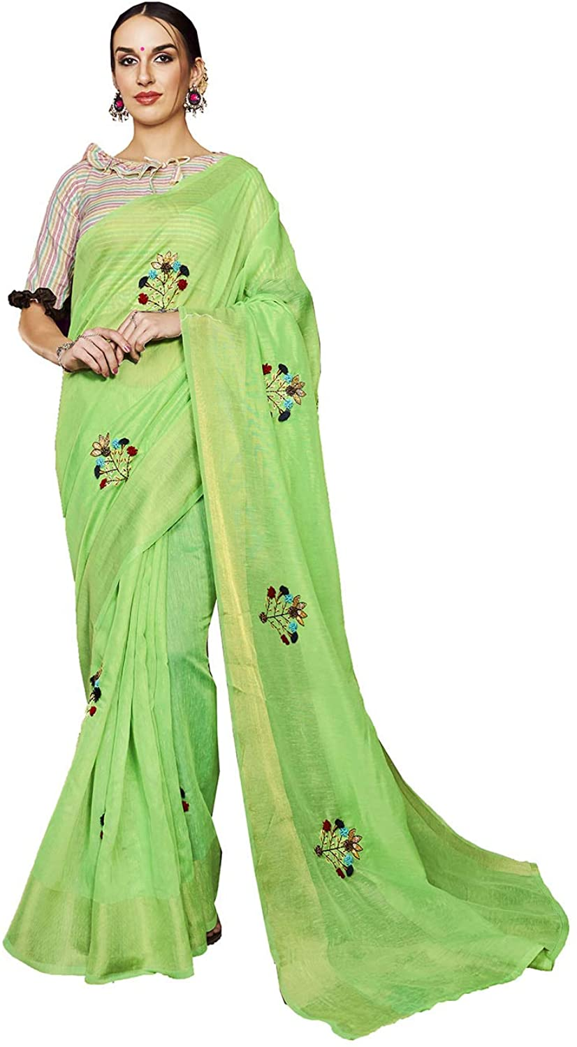 Indian Saree for Women Ethnic Sari Parrot Green Linen Sari with Unstitched Blouse. ICW2736-1