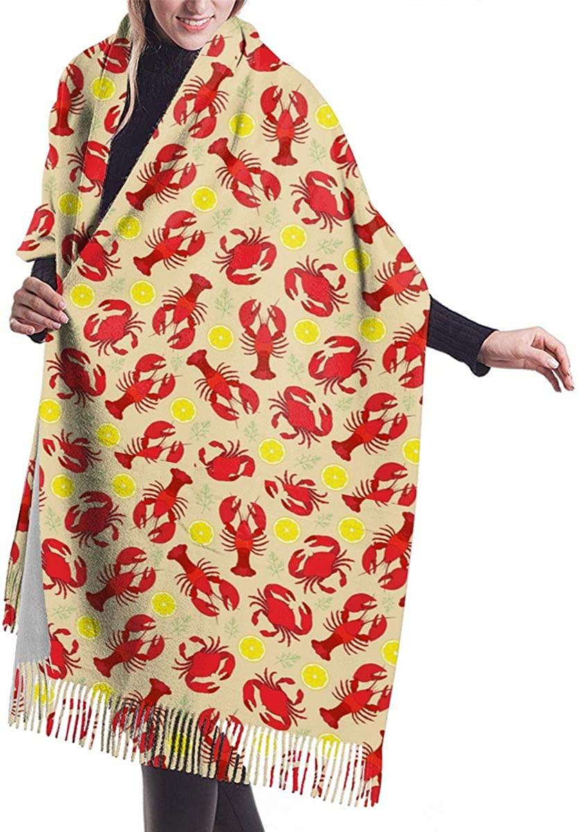 Lobster Pattern Warm Cashmere Shawl Wrap Long Scarves Travel Neckerchief