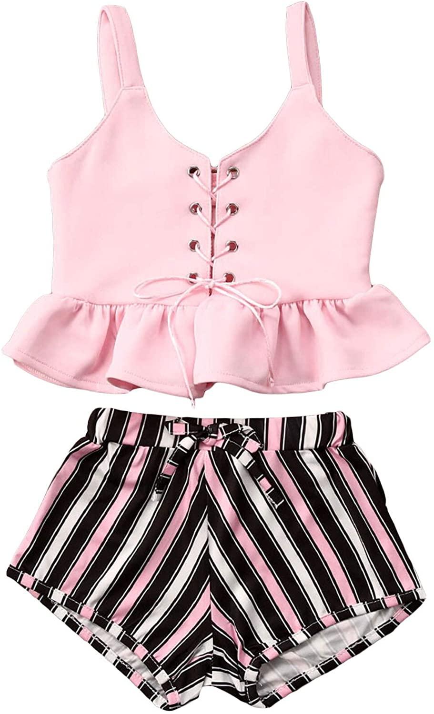 Toddler Baby Girl Summer Clothes Set Ruffle Sleeveless Linen Shirt Short Pants Headband for Girl Summer Outfits Set