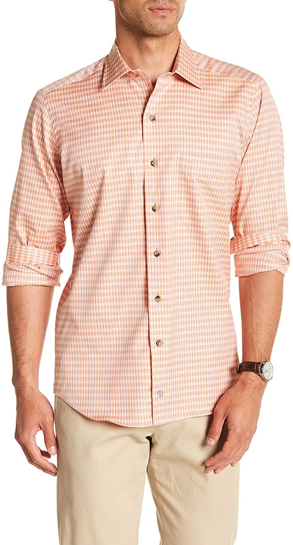 David Donahue Long Sleeve Shirt, Melon, Medium