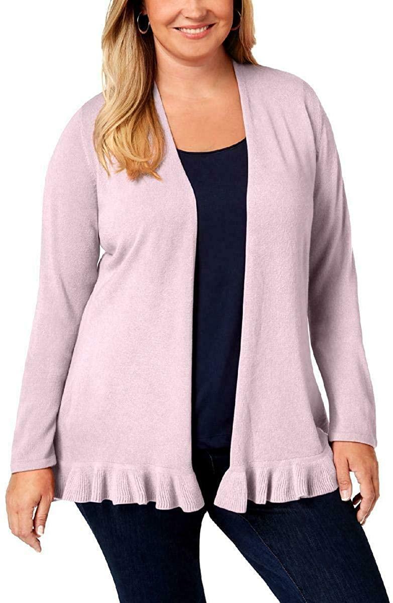 Karen Scott Womens Plus Ruffled Open-Front Cardigan Sweater