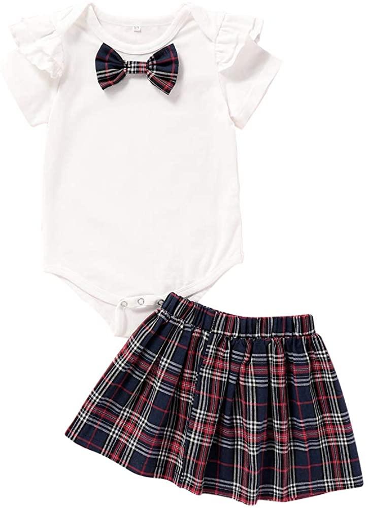 Anmino Baby Girls Clothes Baby Girls 2Pcs Skirt Sets, Cute Ruffled Short Sleeves Tops Short Skirts Summer Outfit