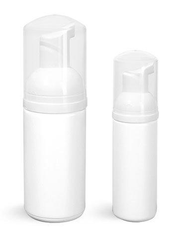 100 ml. White High Density Plastic Cylinder Bottles with White Foamer Pumps & Overcaps (24 Bottles)