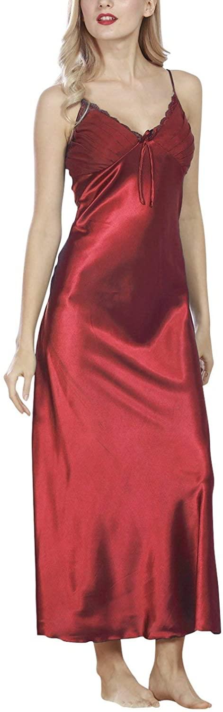 Womens Nighties Satin,Lace Sexy Nightwear Ladies Soft Silky Pyjamas Luxury Lingerie Spaghetti Red