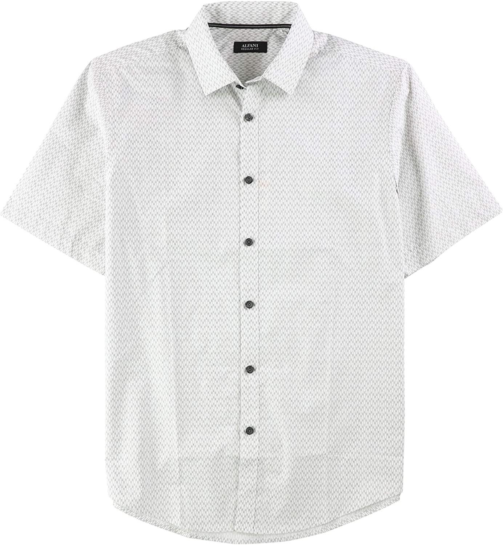 Alfani Mens Patterned Ss Button Up Shirt