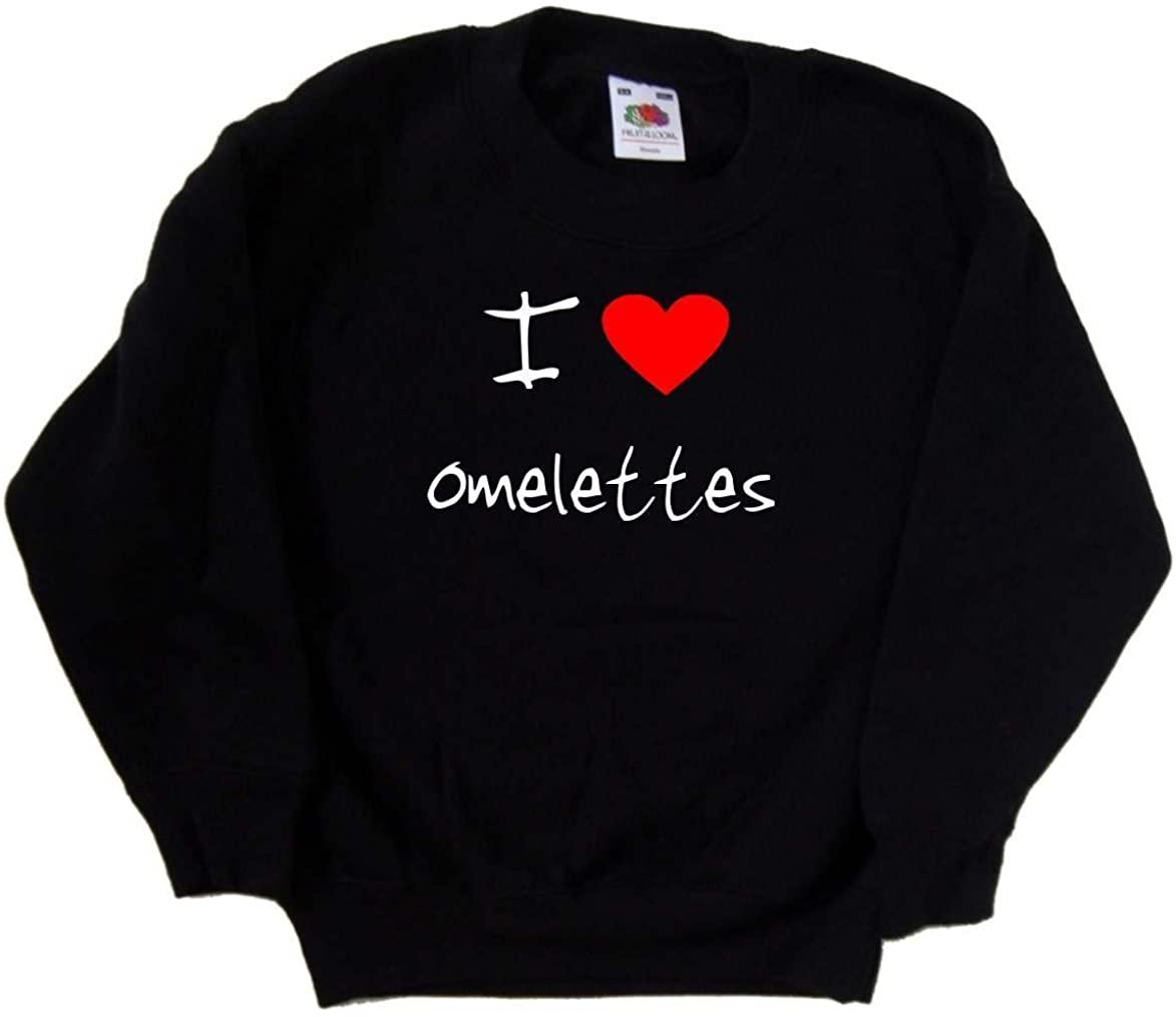 I Love Heart Omelettes Black Kids Sweatshirt