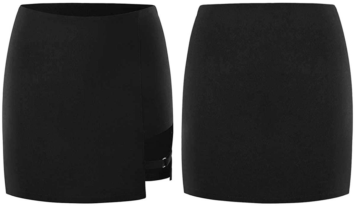 CHICTRY Women's Above Knee Bodycon Mini Skirt High Waist Asymmetric Skort Black Solid Color