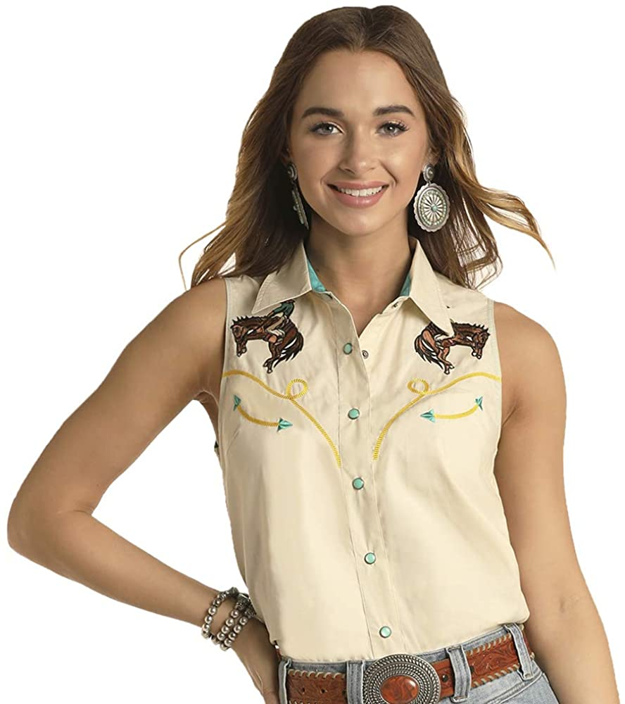Rock N Roll Cowgirl Womens Rock Roll Retro Bucking Horse and Rider Sleeveless Snap Shirt
