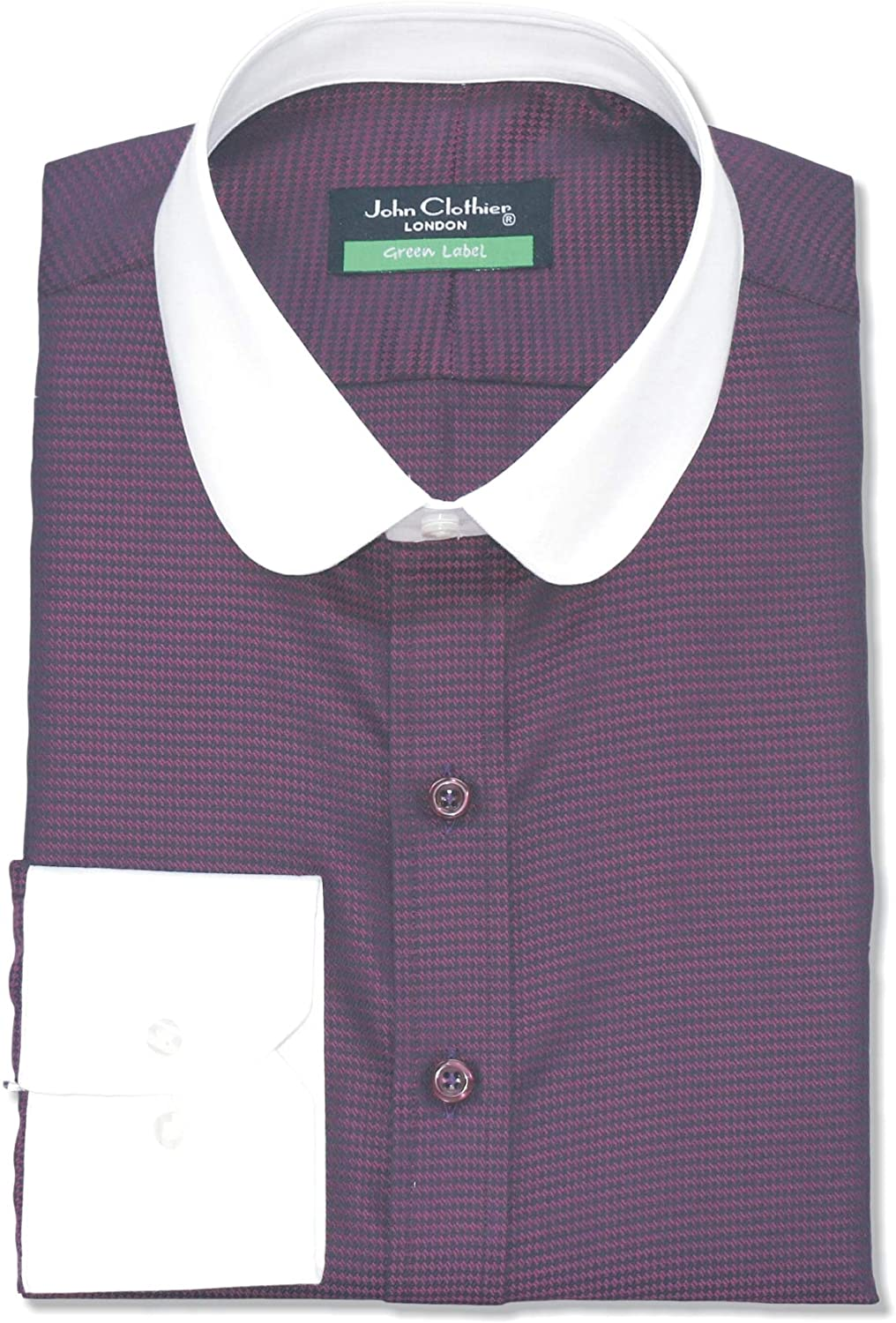 Round Collar Peaky Blinders Mens Bankers Shirt Maroon Oxford 100% Cotton Penny Collar Gents 100-44