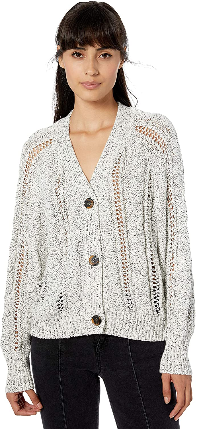 cupcakes and cashmere Women's Venice Marled Cable Knit Raglan Dolman Button Up Cardigan