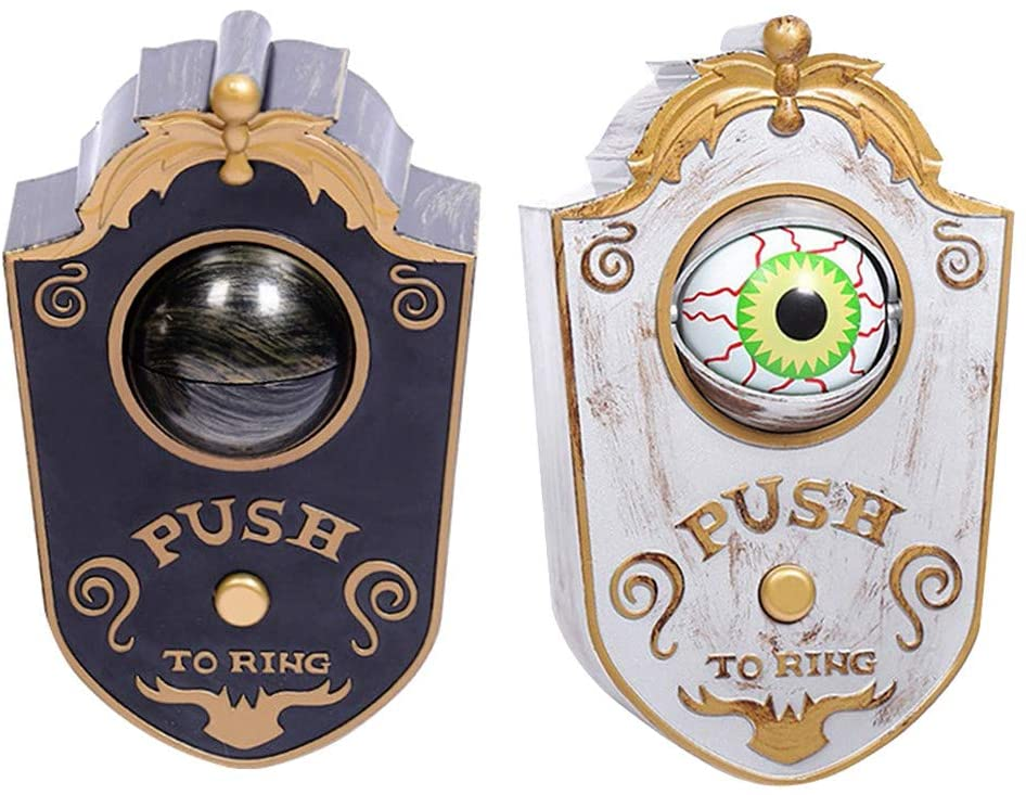 Aoukey Halloween One-eyed Doorbell Decoration Ghosts Day Glowing Haunted House Piece Whole Door Hanging