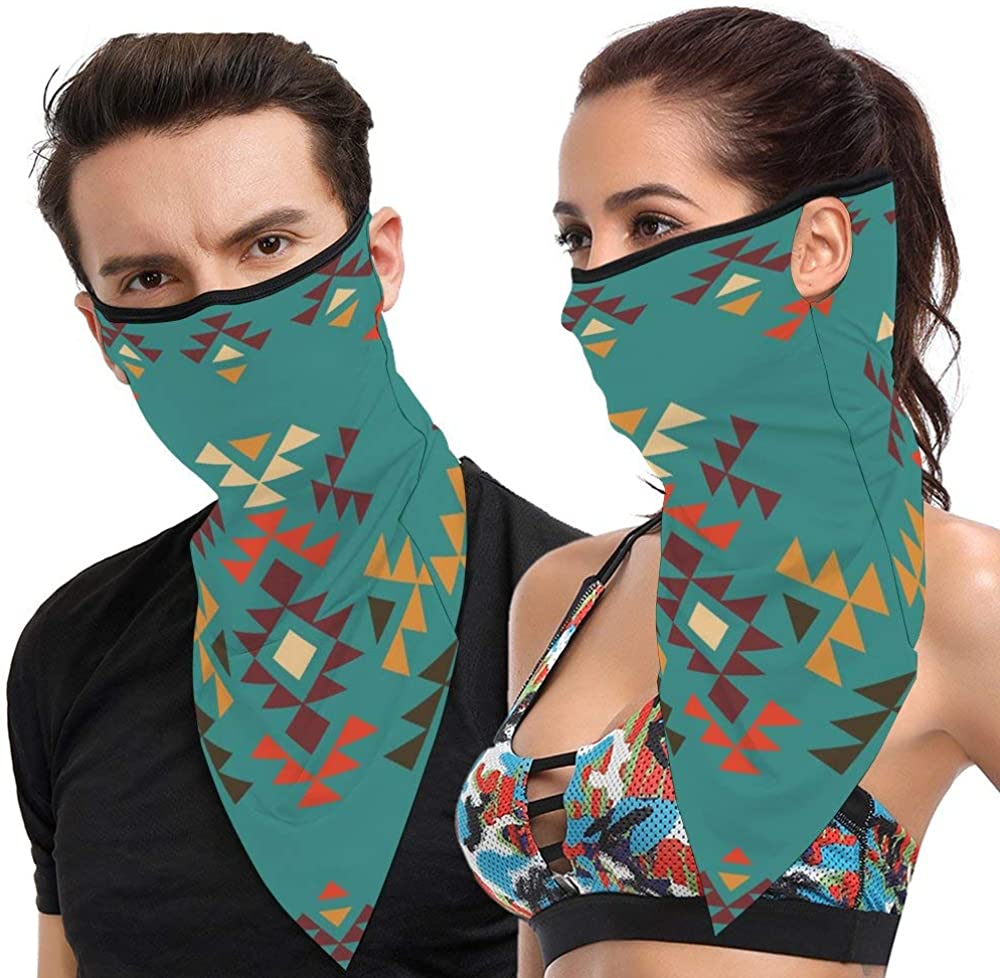 PA Colorful Geometric Shapes on Teal Backdrop Cheerful Tribal Design Ethnic CultureUnisex Bandana Windproof Dustproof Headband Scarf Half Face Mask Neck Gaiter Motorcycle Headwear