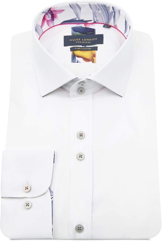 Guide London Men's Slim Fit Floral Trim Shirt White