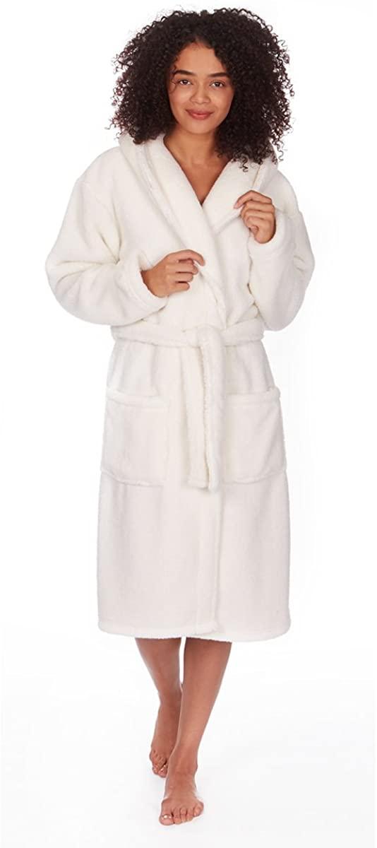 Forever Dreaming Ladies Women's Soft Snuggle Fleece Hooded Dressing Gown Robe Nightwear Plus Size