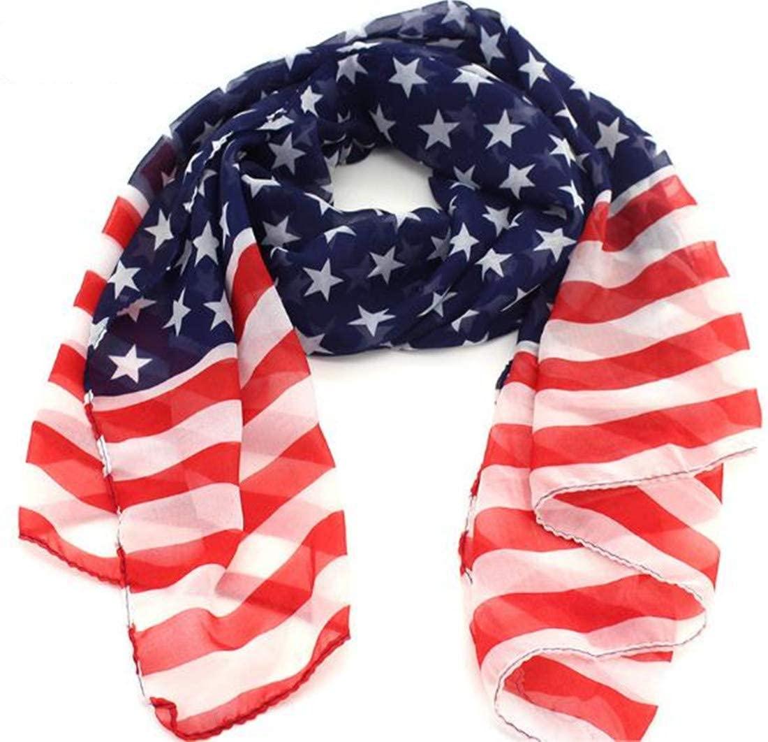 1pc Women Girl Scarves American Flag US Flag Patriotic Theme Scarves