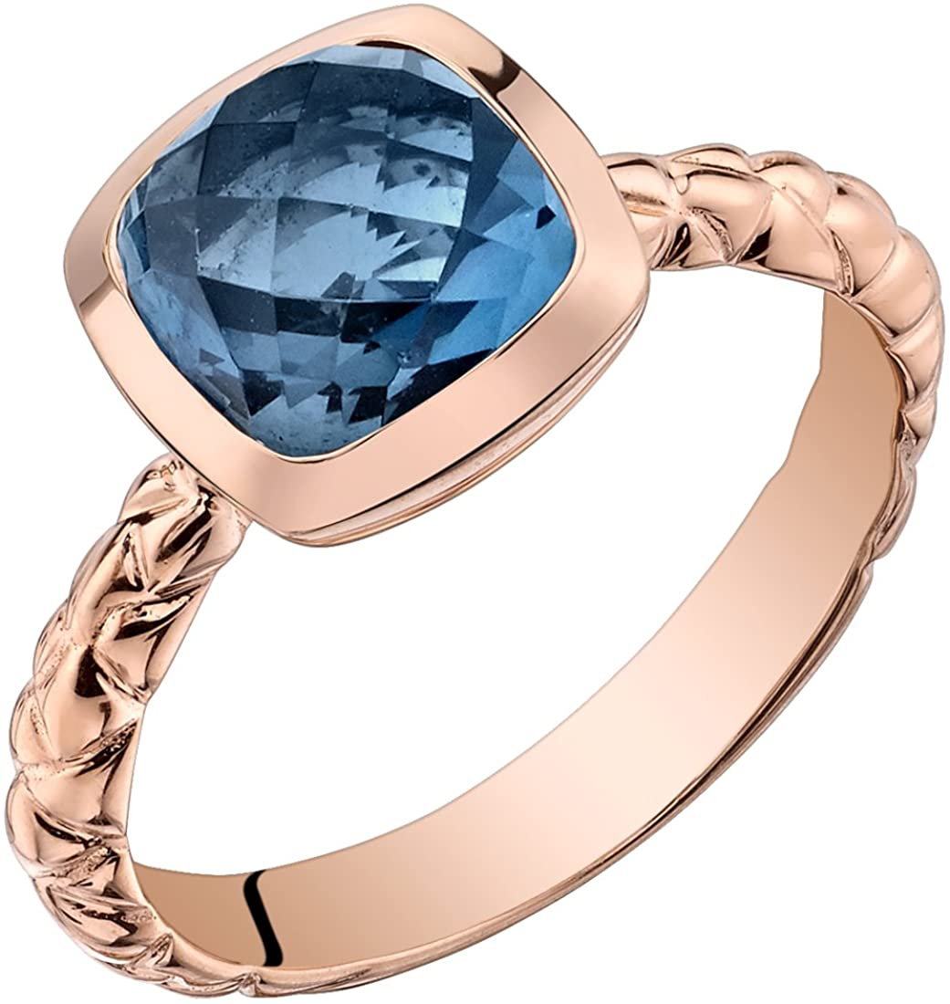 14k Rose Gold London Blue Topaz Cushion Cut Woven Solitaire Dome Ring (2.50 carat)