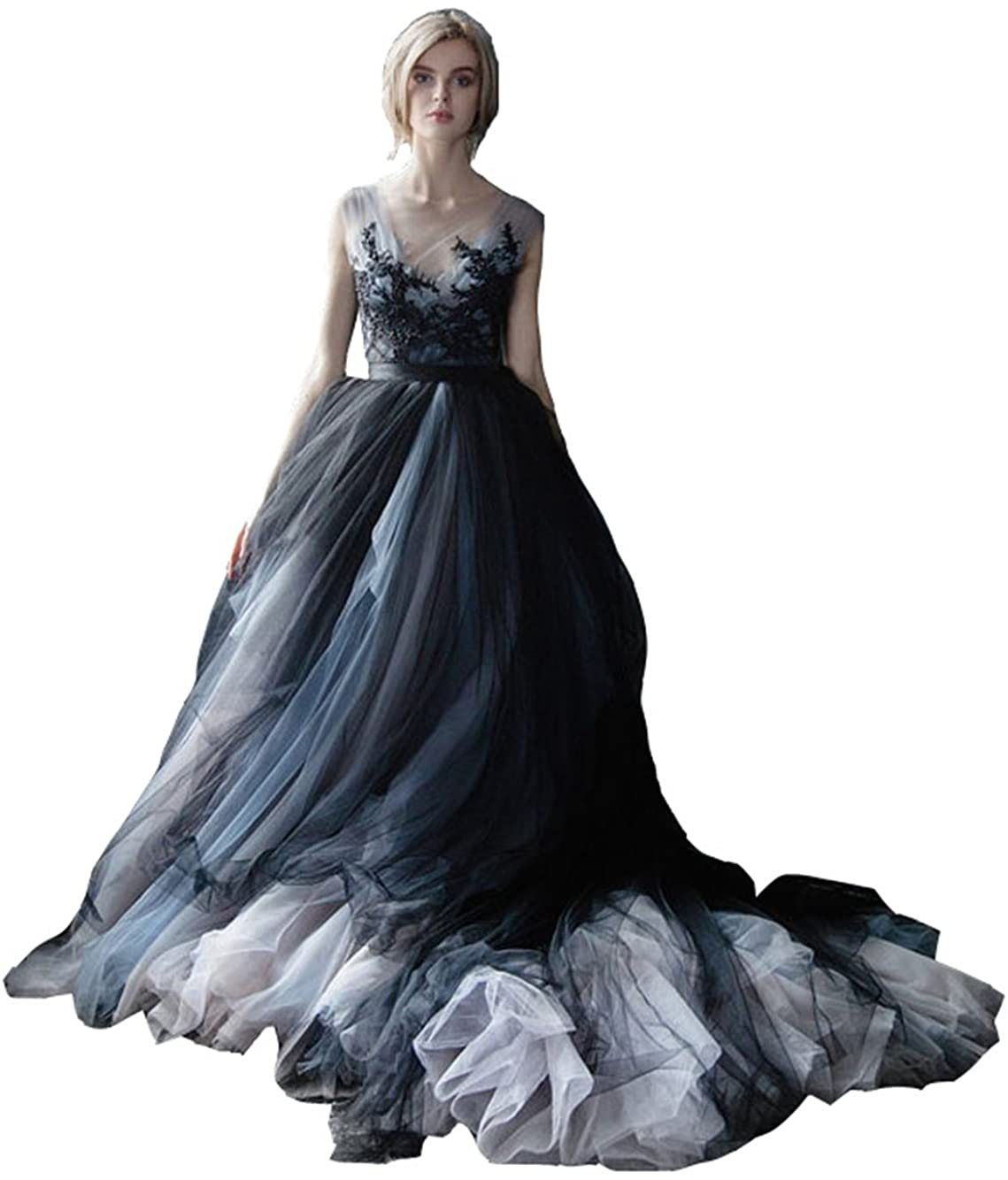Lazacos Women's White and Black Tulle Lace Appliques Vintage Gothic Wedding Dress