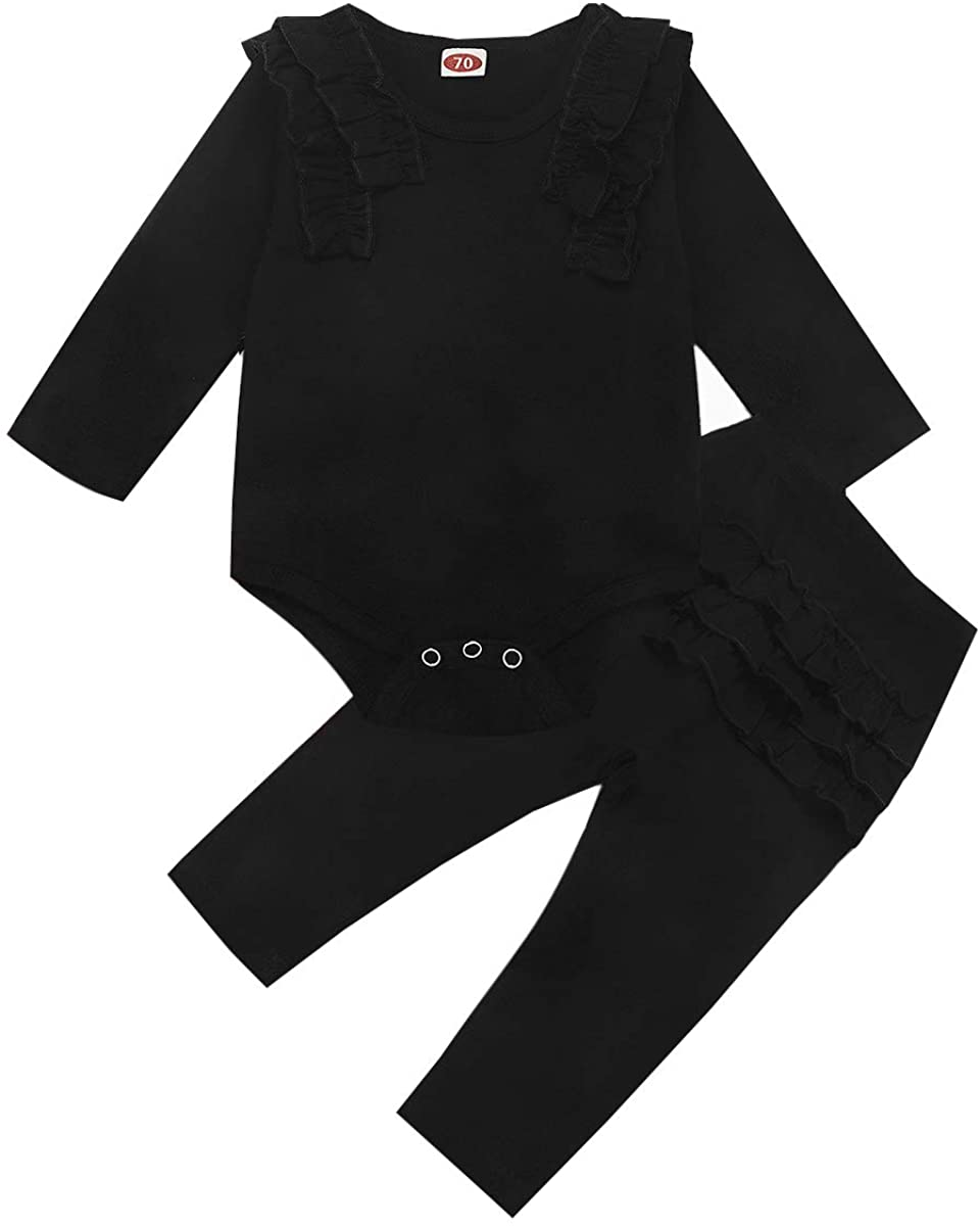 2PCS Newborn Baby Girls Clothes Ruffle Solid Long Sleeve Bodysuit Romper Tops+Ruffle Pants Set Fall Winter Outfits Set (Black Solid Ruffle Pants Set, 12-18M)
