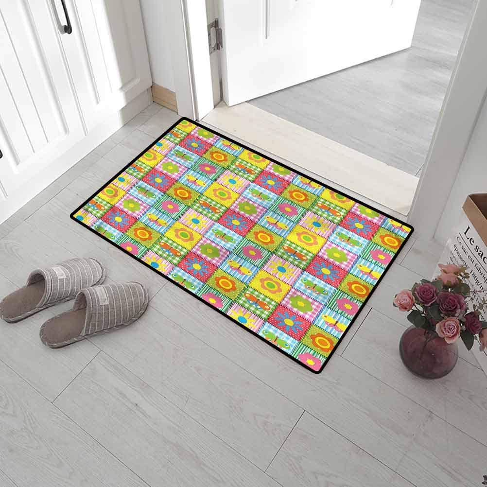 SCOCICI1588 Pet Mat Patchwork, Child Spring Baby Motifs Entryway Welcome Mats Waterproof, Easy Clean, Dust Trapper, Eco-Friendly 20 x 31 Inch