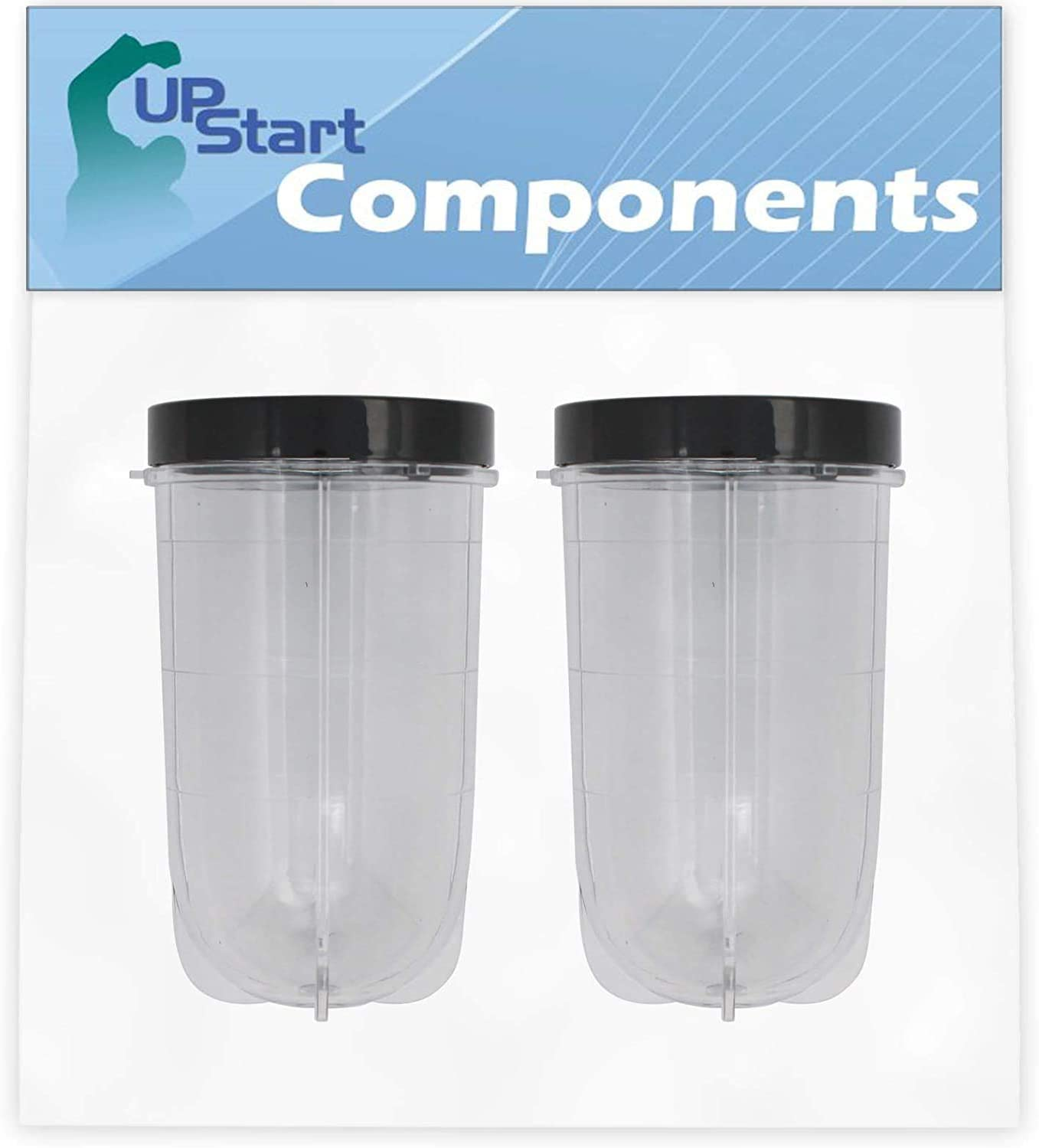 2 Pack UpStart Components Replacement 16 oz Cup with Lid for Magic Bullet MB1001 Original Blender