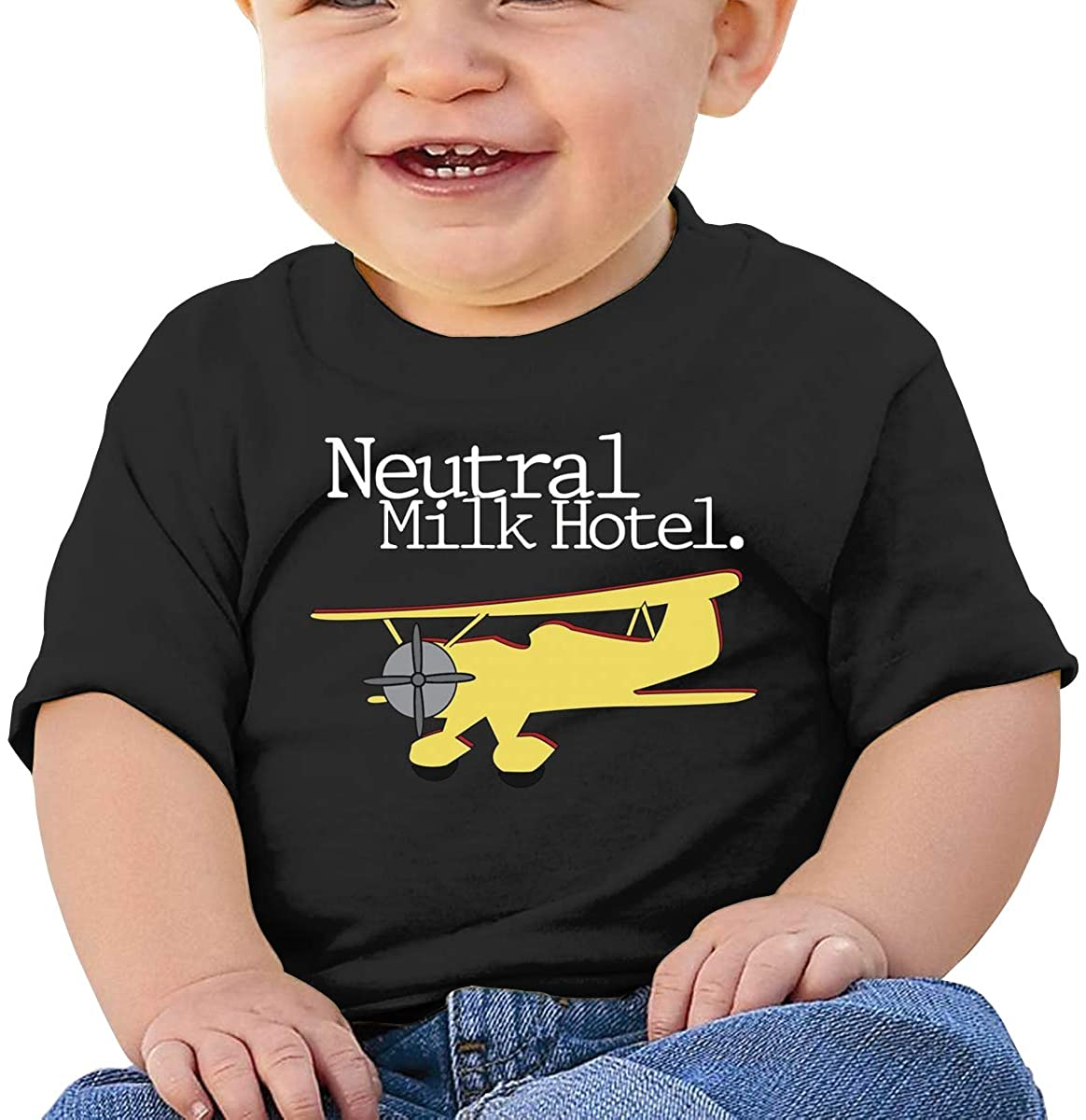 6-24 Months Boy and Girl Baby Short Sleeve T-Shirt Neutral Milk Hotel Original Minimalist Style Black