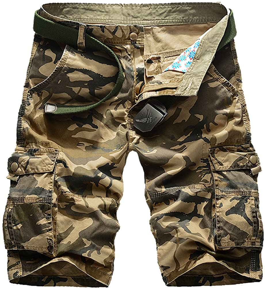 Mens Cotton Camo Printed Tactical Cargo Shorts Slim Stlye Work Shorts
