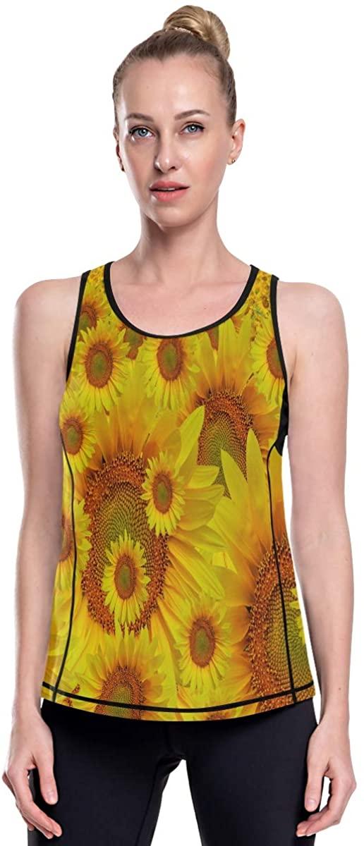 Women's Racerback Running Graphic Tank Tops Loose Fit Summer Ladies Long Beautiful Landscape Sunshine Flower Floral
