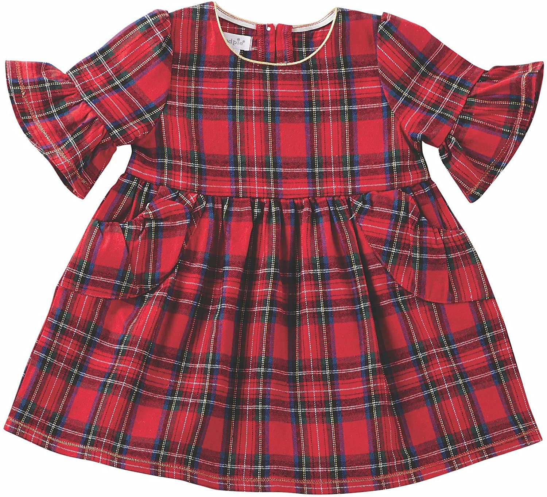 Mud Pie Baby Girls Red Tartan Plaid Long Sleeve Ruffle Dress (Infant)