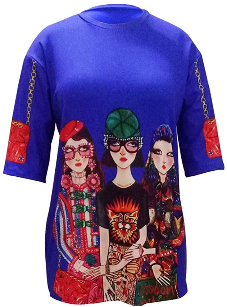 Choichic Women's Sexy Floral Print Long Sleeve Blouse Tunic Tops Mini Dresses