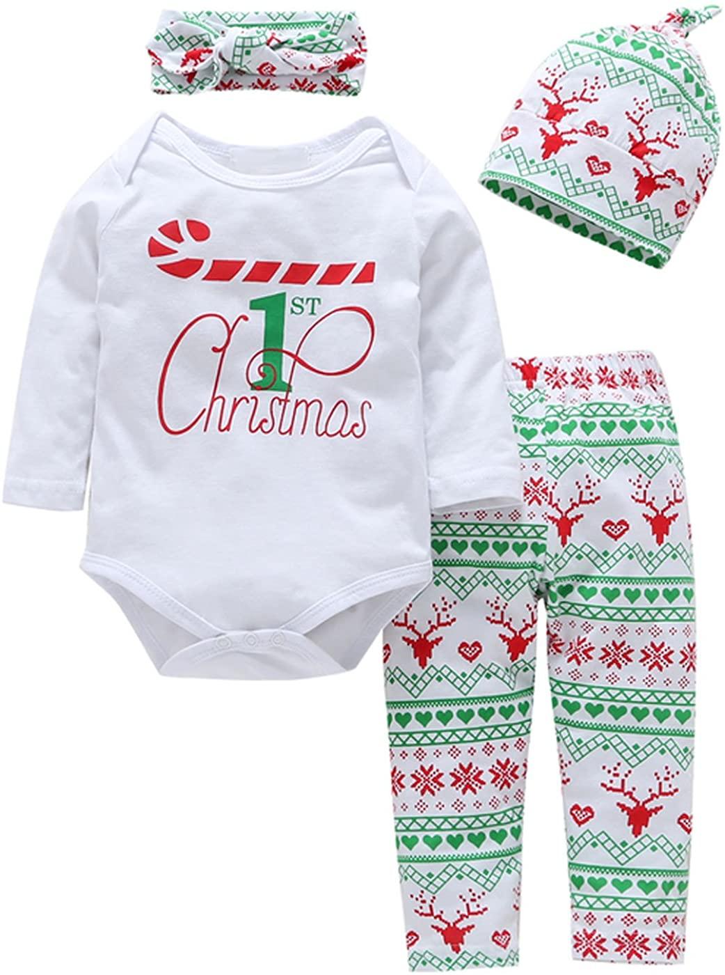 Infant Baby Boy Girl 4 pcs Clothes Set My First Christmas Long Sleeve Romper+ Deer Pants+Hat+Headband