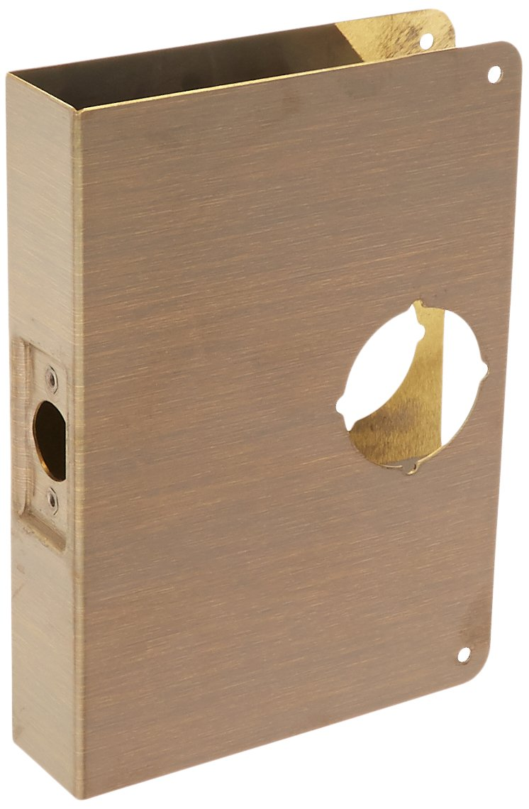 Don-Jo 55-CW 22 Gauge Stainless Steel Mortise Lock Wrap-Around Plate, Blackened Satin Brass Plated, 6-1/2