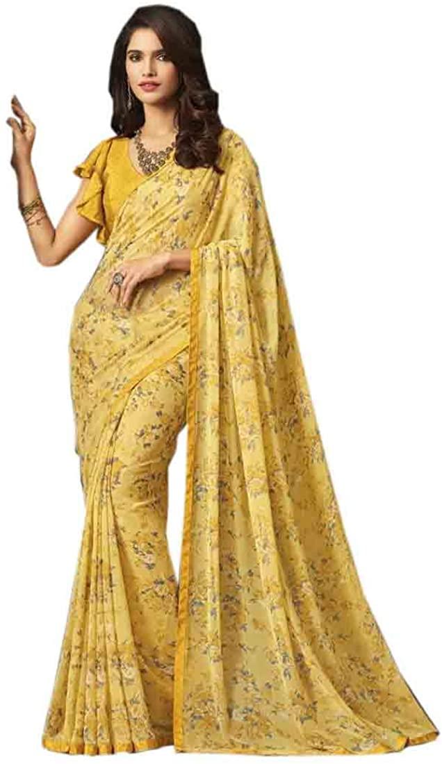 Indian Digital Printed Light weight Georgette Saree Women Formal Wear Sari Blouse (combo of 3) 9769