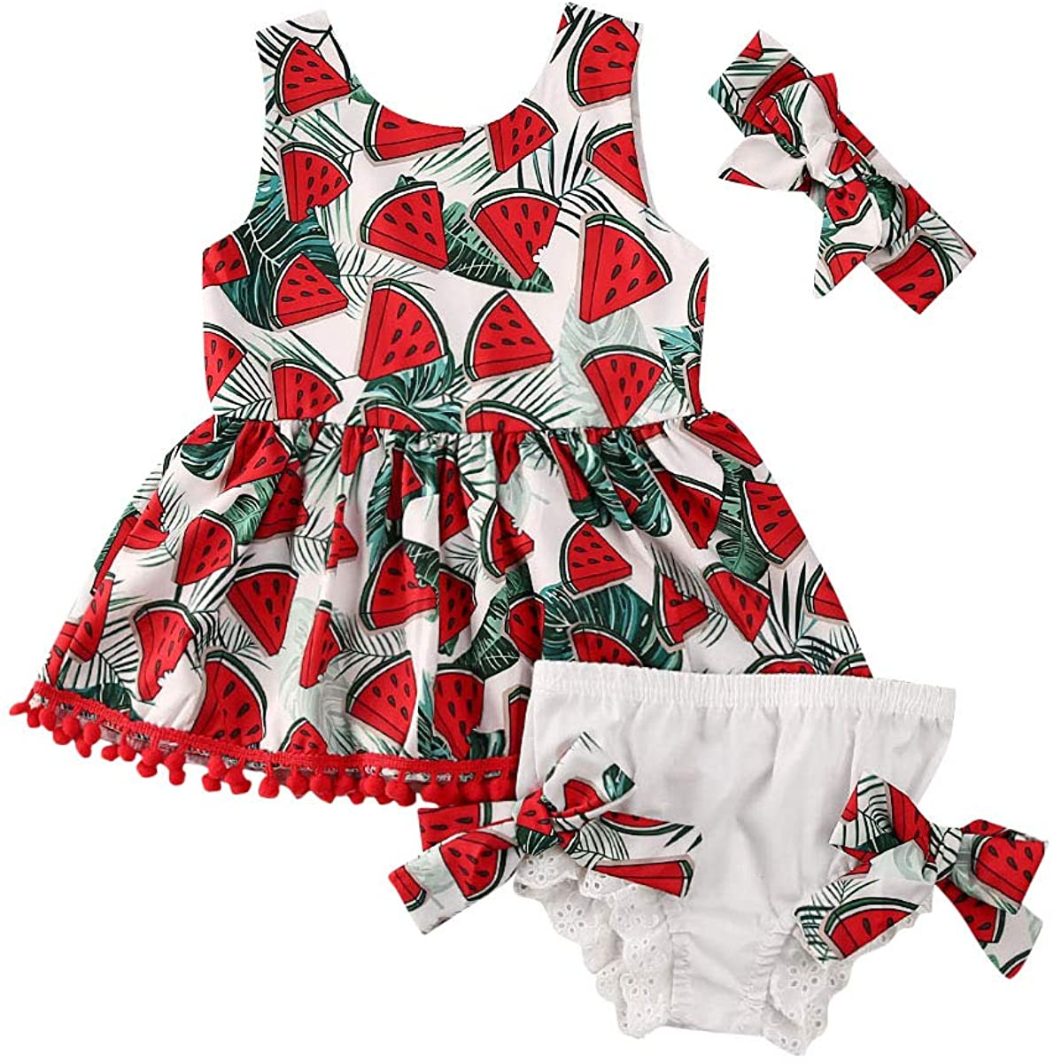 3Pcs Toddler Baby Kids Girl Clothes Watermelon Tassel Tutu Sleeveless Vest Tops Bow Shorts Pants Headband Outfit Set