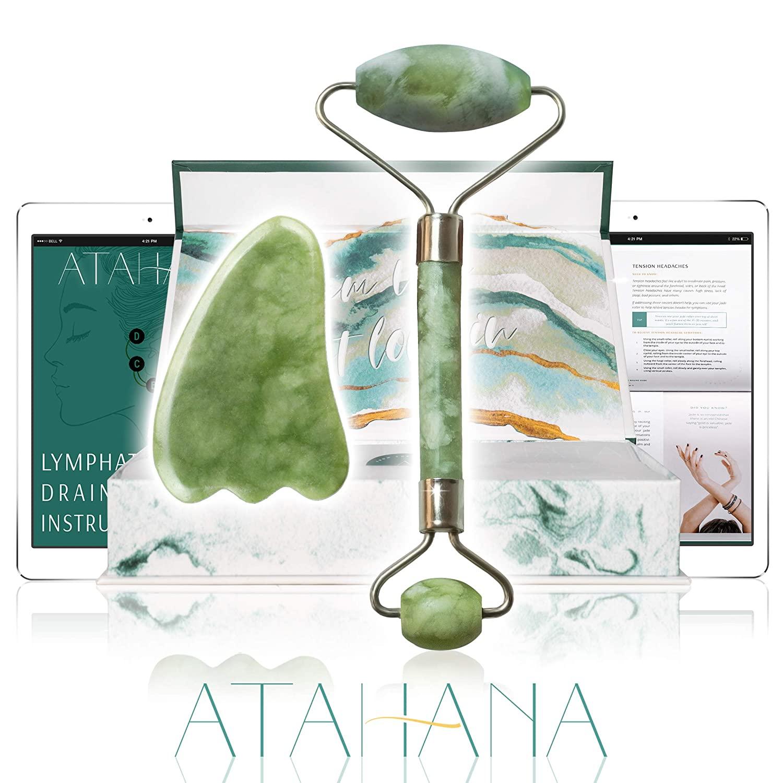 Premium Jade Roller - 100% Natural Jade Stone Roller & Gua Sha - Video Tutorial & Ebook Included - Real Jade Roller for Face