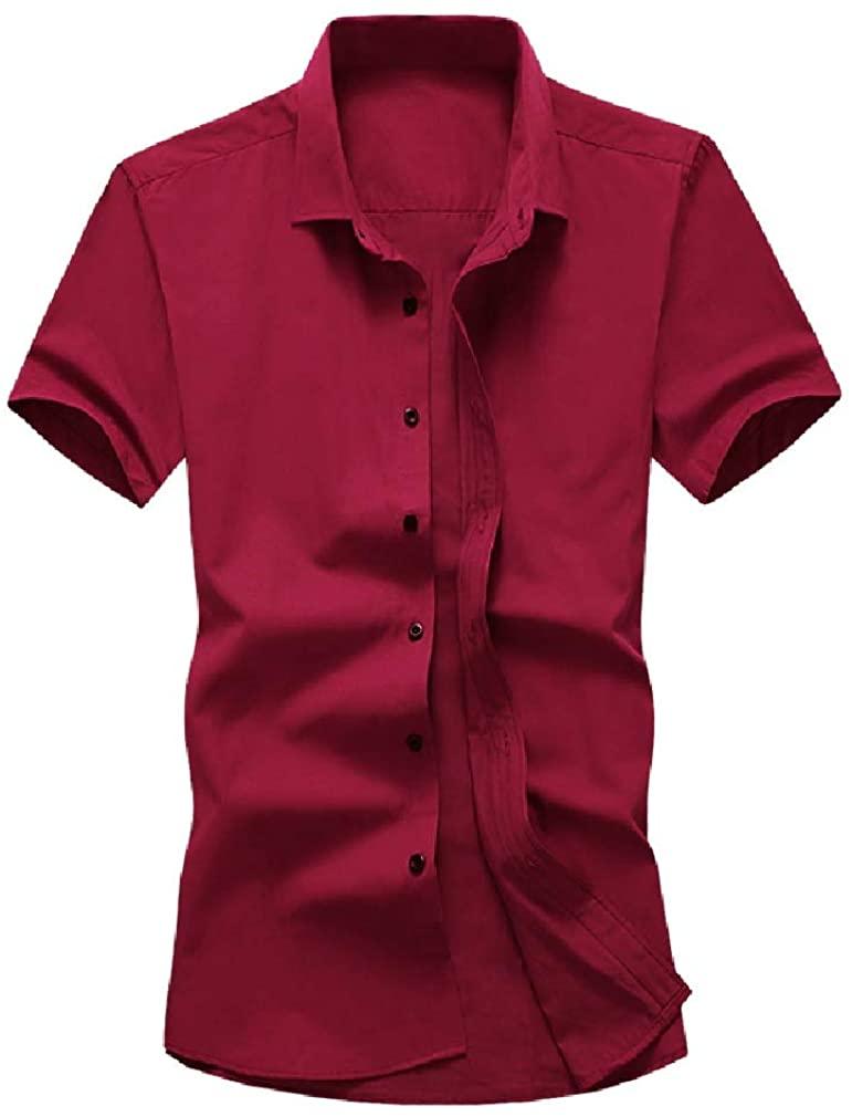 KLJR Men Formal Solid Short Sleeve Slim Fit Business Summer Dress Shirt