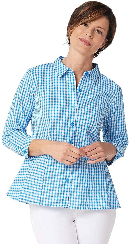 Joan Rivers Womens Seersucker Gingham Shirt with Peplum Hem 6 Blue A347415