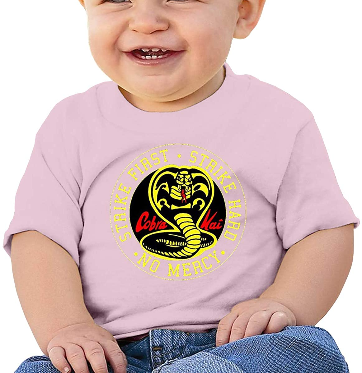 6-24 Months Boy and Girl Baby Short Sleeve T-Shirt Cobra Kai Karate Dojo Original Minimalist Style Pink