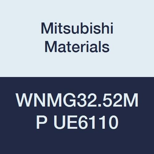 Mitsubishi Materials WNMG32.52MP UE6110 CVD Coated Carbide WN Type Negative Turning Insert with Hole, General Cutting, Trigon, 0.375