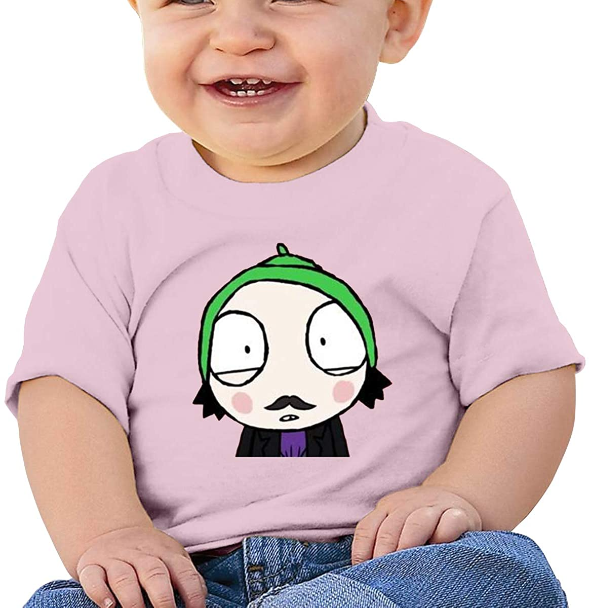 6-24 Months Boy and Girl Baby Short Sleeve T-Shirt Sarah & Duck Logo Original Minimalist Style Pink