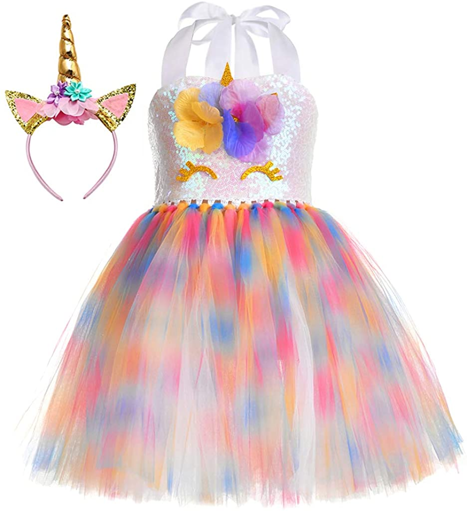 Tutu Dreams Fancy Unicorn Costume for Girls 1-10Y with Headband Birthday Party Gifts Halloween