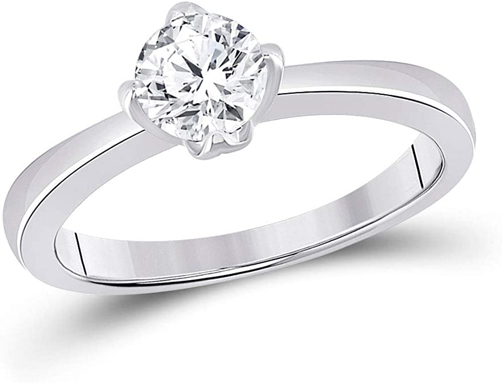 Dazzlingrock Collection 14kt White Gold Womens Round Diamond Solitaire Bridal Wedding Engagement Ring 3/4 Cttw